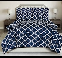 BRAND NEW 3 PIECE PRINTED DUVET COVER SET WITH 2 PILLOW SHAMS (QUEEN)