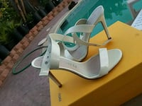 white leather open-toe ankle-strap pumps San Diego, 92123