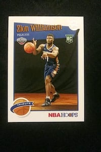 2019 NBA HOOPS ZION WILLIAMSON ROOKIE BASKETBALL CARD EXCELLENT COND.