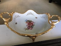 White and gold floral ceramic dish Vancouver, V6Z 3G4