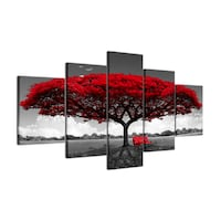 Beautiful Red Tree - 5pcs Canvas Langley Township