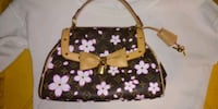 women's brown and pink floral tote bag Los Angeles