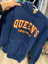 blue and yellow Queen's University pullover hoodie London, N6K 3A6