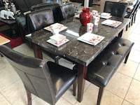 rectangular black wooden table with six chairs dining set Houston, 77084
