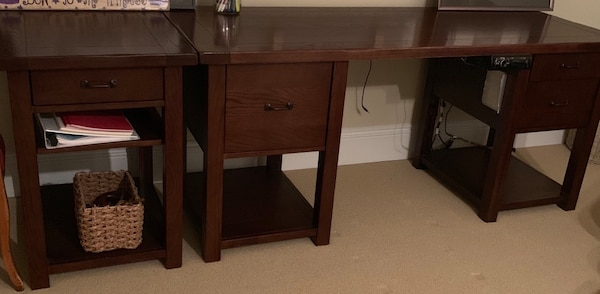Solid Wood Desk + Filing Cabinet