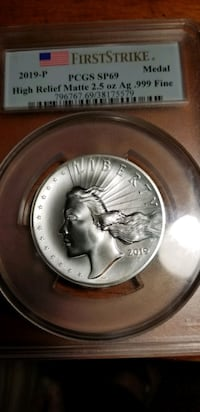 2019-P American Liberty High Relief Silver Matte Medal SP69 First Stri