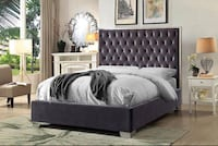 Grey velvet bed with chrome top and sides and upholstered face Toronto, M6N 3G1