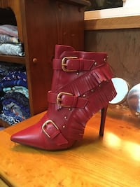 pair of red leather ankle strap heeled sandals Wesley Chapel, 33543