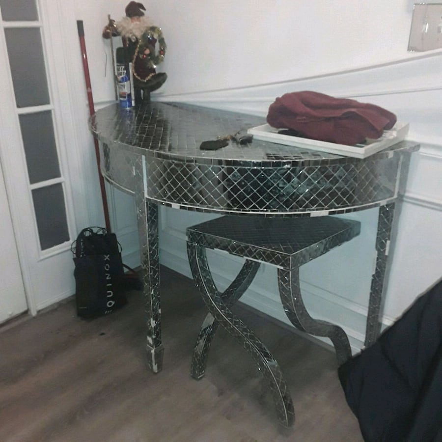 Mirrored Console Table with matching side table.   PRICE $250