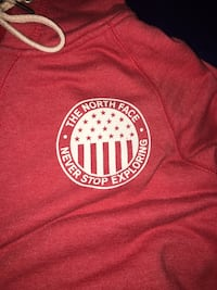 Red north face hoodie