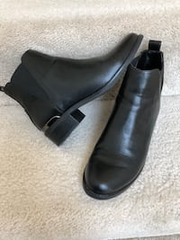 pair of black leather booties Fairfax