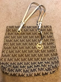 Black and brown michael kors monogram tote bag