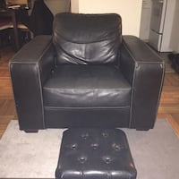 Black Leather Chair and Stool Vancouver, V6A 2W5