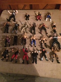 assorted WWE action figure collection