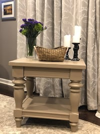Crate & Barrel painted wooden end table / nightstand/ side table with drawer Reston, 20191