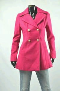 Guess hot pink button-up wool trench coat Victoria, V8T 3J7