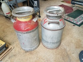 Antique or Vintage Metal Milk Containers