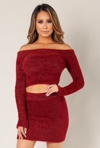 women's red long-sleeved dress