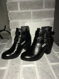 Steve Madden black leather booties Abbotsford