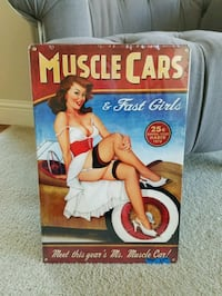 Muscle cars pinup pin up girl steel metal sign  Vancouver, 98686