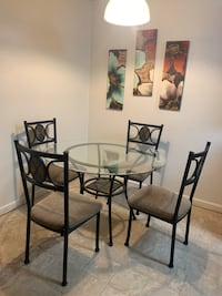 Circle dining table With chairs no chips cracks very clean non smoking household will deliver for $10 extra. Great buy!!!! Virginia Beach, 23454