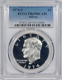 "1974-S Silver Proof ""Ike"" Eisenhower $1. PCGS PR69 Cliffside Park"