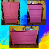 3 pink painted dressers/armoire. Need touchups Appleton, 54915