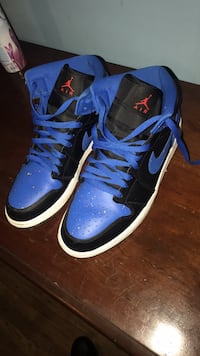 pair of blue-and-black Air Jordan shoes Highland Park, 48203