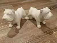 "BULLDOG Salt and pepper shakers. Made of bone china. Measures 4"" long and 3"" tall   Potomac, 20854"