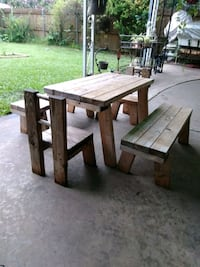 Childrens wooden picnic table set