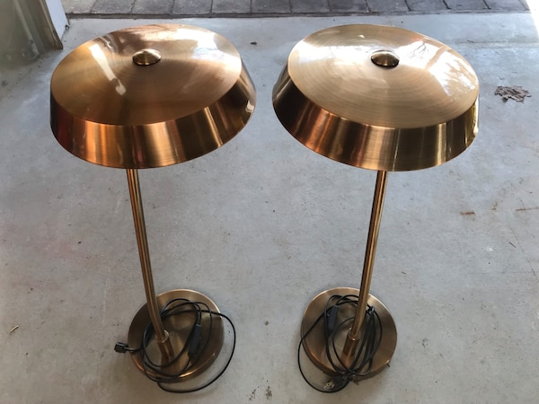 Side table lamps. Copper finish