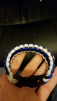 white and blue bracelet