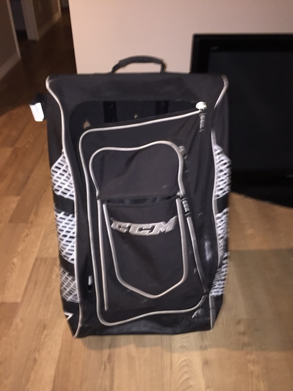 black and white CCM backpack