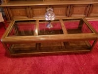 brown wooden framed glass top coffee table Manassas, 20111