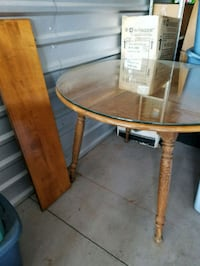 """Wood Table w/ thick glass & leaf 42"""" Across  Anderson, 96007"""