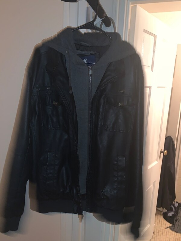 Leather jacket with hood(firm price) 8e70d83e-5d65-43f2-9345-4219f4b1ed69