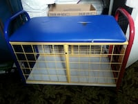 yellow and blue metal bench with storage Lachute, J8H 2H9