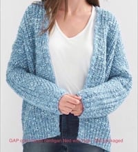 New Gap open faced cardigan sweater.  New with tags.  Still packaged.  Blue.size Medium/Large or M/L.  Designer clothes. Fullerton, 92831
