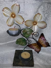 """Wood/Metal Tealight Candle Holder  Approx 9.5"""" tal"""