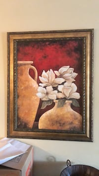 Brown wooden frame (Large) with white petaled flower painting Jacksonville Beach, 32250