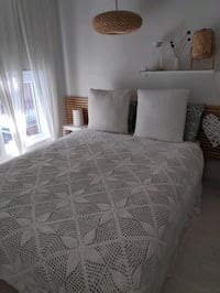 Handmade crochet beadspread-off white-good as New-Size295cm x210cm