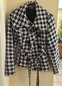 black and white houndstooth print coat  Saugus