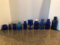 "Lot of 10 Small Blue Glass Bottles 2""-6"" Tall $10 for all Manassas, 20112"