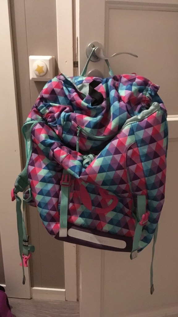 Pink blue and purple backpack