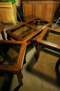 two square brown wooden framed glass top tables Murphy, 28906
