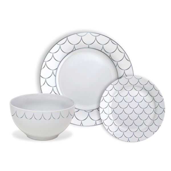 NEW Silver Scale Dinnerware Set White
