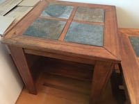 Side table solid wood with slate inserts  561 km