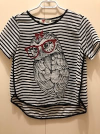 white and black striped owl print cap-sleeved shirt Vancouver, V6L 2P1