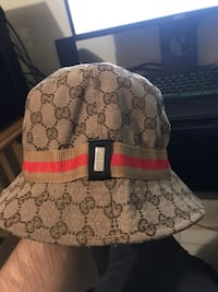 Women's Gucci GG Canvas Fedora, Beige Size Small Bowie, 20720