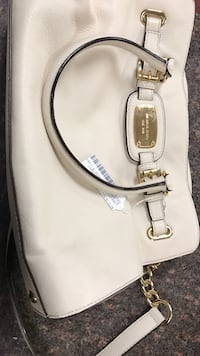 white leather Michael Kors 2-way handbag